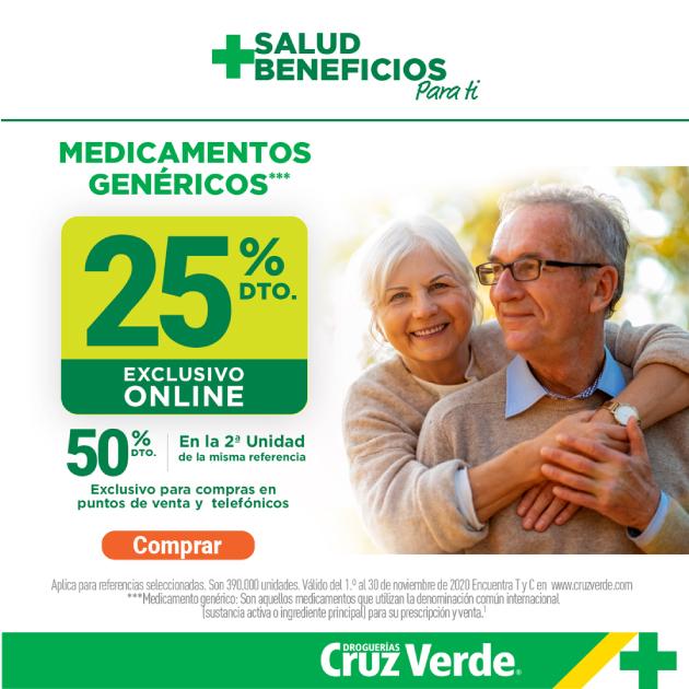 recibe 25% de descuento en los productos de la categoría medicamentos genéricos
